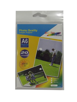 "Glossy Photo Paper A6 (4"" x 6"") 20 sheets 230 gms"