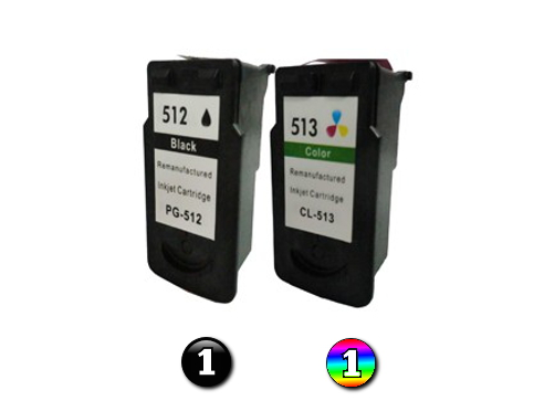 2 Pack Combo Remanufactured Canon PG512 & CL513 (1BK/1C) ink cartridges