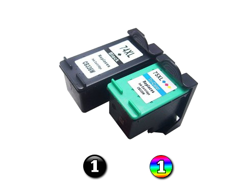 2 Pack Combo Remanufactured HP74XL/HP75XL High Capacity ink cartridges