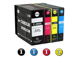 4 Pack Combo Compatible Canon PGI-2600XL (1BK/1C/1M/1Y) ink cartridges