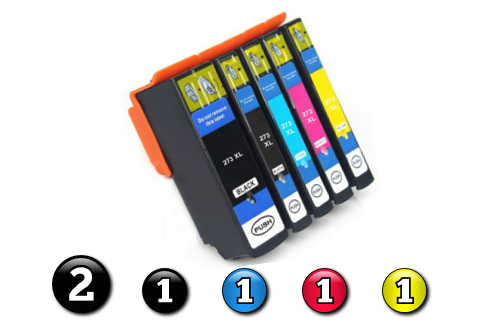 6 Pack Combo Compatible Epson 273XL (2BK/1PBK/1C/1M/1Y) ink cartridges