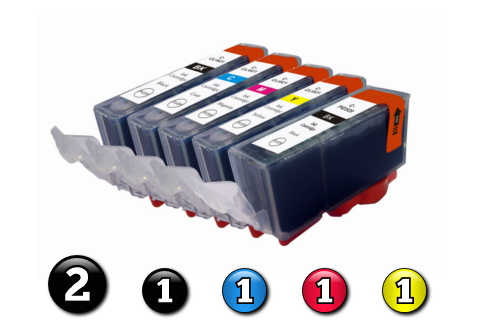 6 Pack Combo Compatible Canon ink cartridges (2 x PGI520BK + 1 x CLI521BK/C/M/Y)