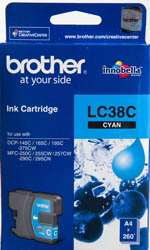 Genuine Brother LC38C (Cyan) ink cartridge