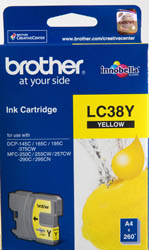 Genuine Brother LC38Y (Yellow) ink cartridge