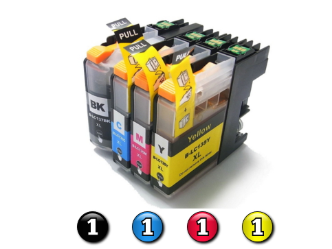 4 Pack Combo Compatible Brother LC137XL/LC135XL (1BK/1C/1M/1Y) ink cartridges