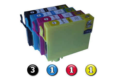 6 Pack Combo Compatible Epson 133 (3BK/1C/1M/1Y) ink cartridges