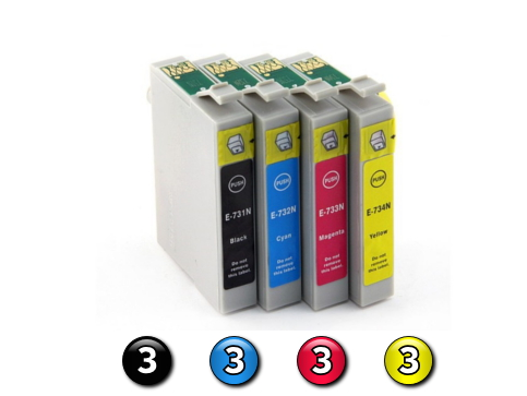 12 Pack Combo Compatible Epson 73N (3BK/3C/3M/3Y) ink cartridges