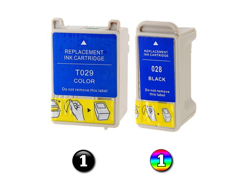 2 Pack Combo Compatible Epson T028/T029 (1BK/1COL) ink cartridges