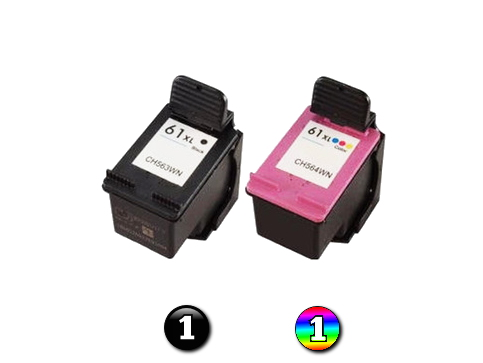 2 Pack Combo Remanufactured HP 61XL BK/COL ink cartridges