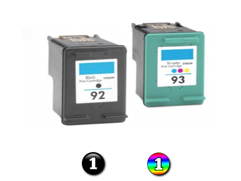 2 Pack Combo Remanufactured HP92/HP93 (1BK/1C) ink cartridges