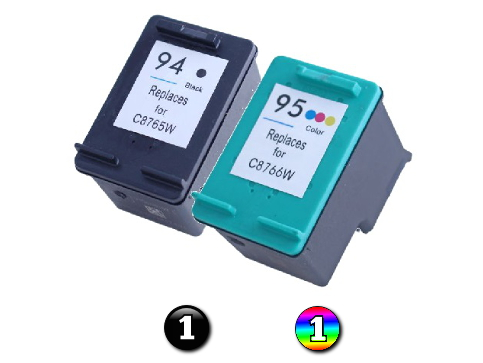 2 Pack Combo Remanufactured HP94/HP95 (1BK/1C) ink cartridges
