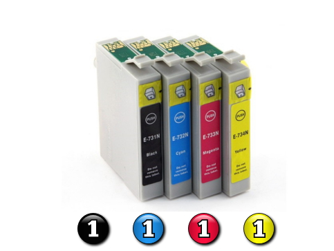 4 Pack Combo Compatible Epson 73N (1BK/1C/1M/1Y) ink cartridges