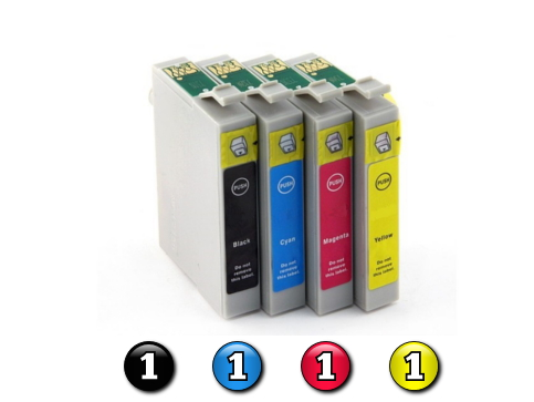4 Pack Combo Compatible Epson T0561/2/3/4 (1BK/1C/1M/1Y) ink cartridges