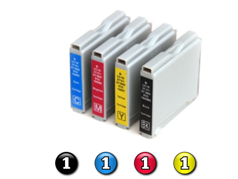 4 Pack Combo Compatible Brother LC37 (1BK/1C/1M/1Y) ink cartridges