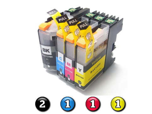 5 Pack Combo Compatible Brother LC133 (2BK/1C/1M/1Y) ink cartridges