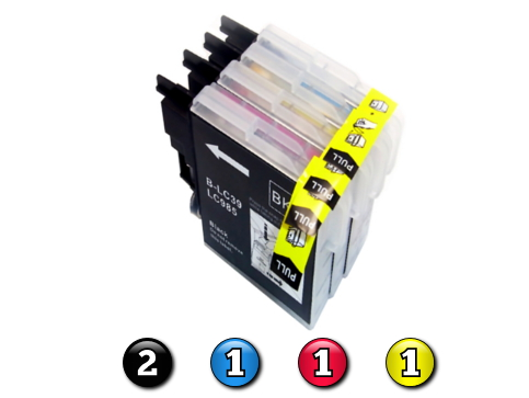 5 Pack Combo Compatible Brother LC39 (2BK/1C/1M/1Y) ink cartridges