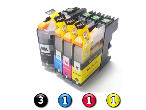 6 Pack Combo Compatible Brother LC133 (3BK/1C/1M/1Y) ink cartridges