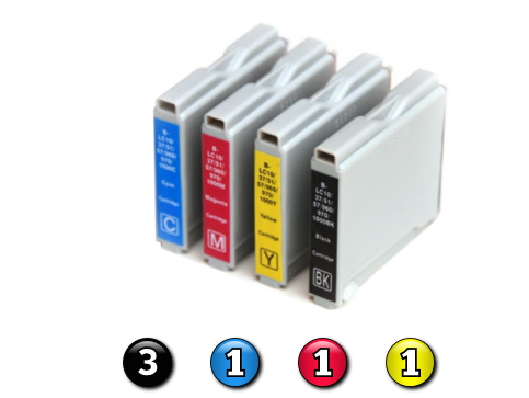 6 Pack Combo Compatible Brother LC37 (3BK/1C/1M/1Y) ink cartridges
