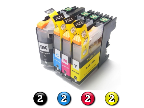 8 Pack Combo Compatible Brother LC133 (2BK/2C/2M/2Y) ink cartridges