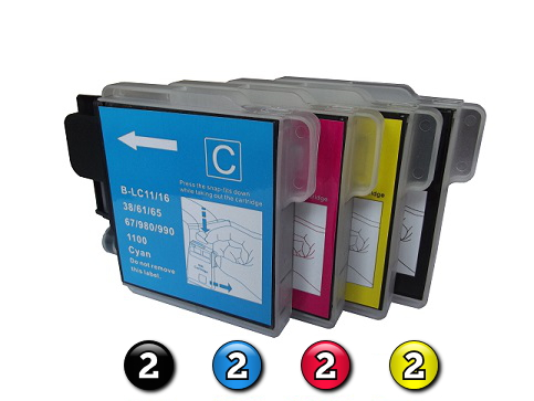 8 Pack Combo Compatible Brother LC38/LC67 (2BK/2C/2M/2Y) ink cartridges